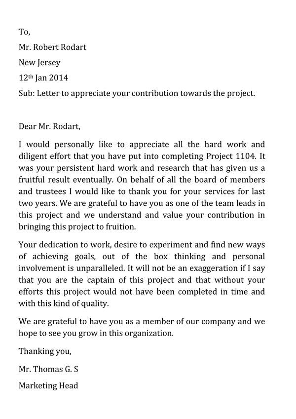 Appreciation Letter Template 03