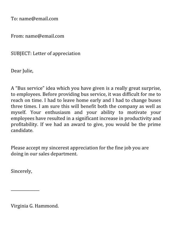 Appreciation Letter Template 04