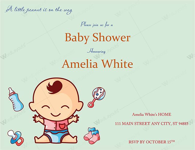 Baby Shower Invitation Template (Sea Green Themed)