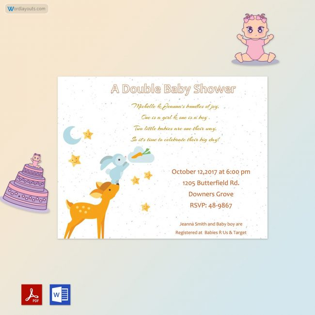 Baby Shower Invitation Template (Deer Themed)