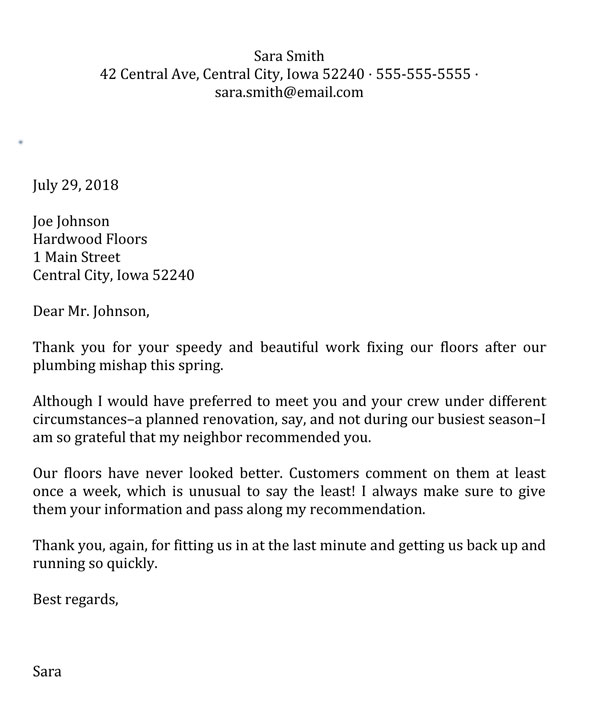 Business Thank You Letter Sample 1
