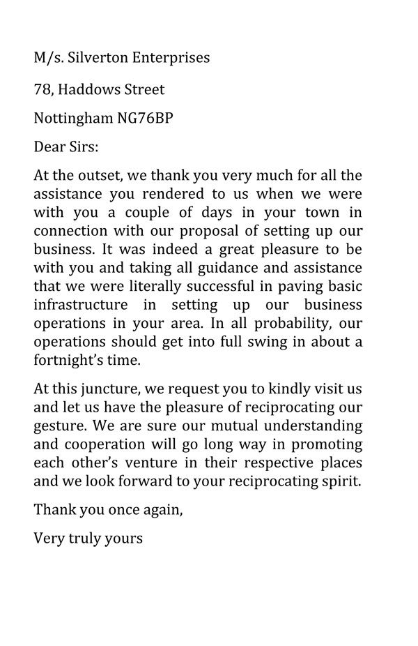 Business Thank You Letter Sample 2