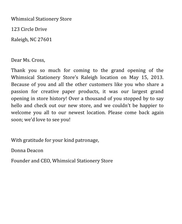 Business Thank You Letter Sample 4