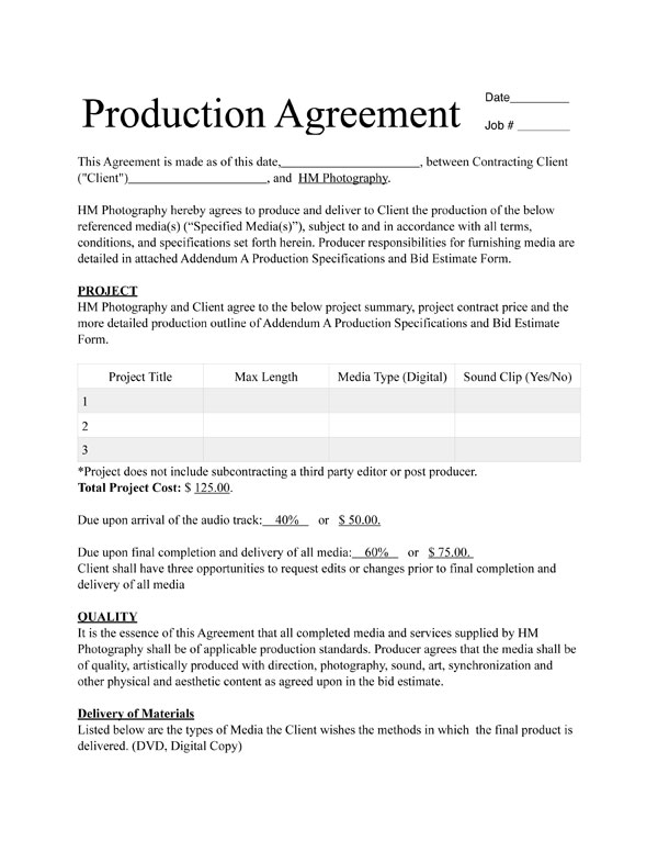 Contract for Videography Service 2