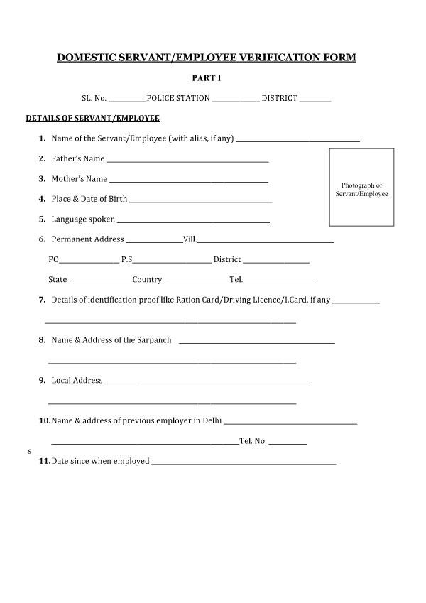 Domestic Servant Employment Verification Form 05