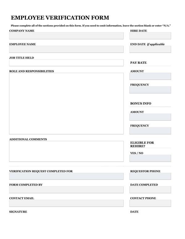 Employment Verification Form 01