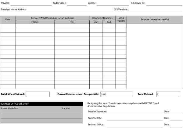 Mileage Reimbursement Claim Form 04
