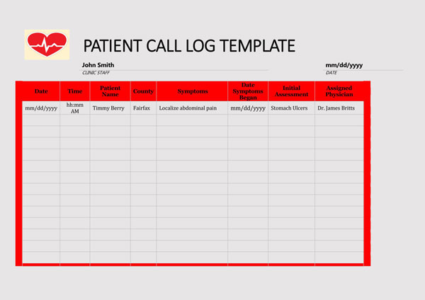 Patient Call Log Template 03