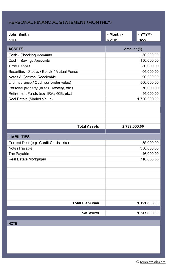 Personal Financial Statement 01