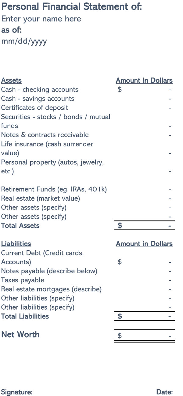 Personal Financial Statement Template 02