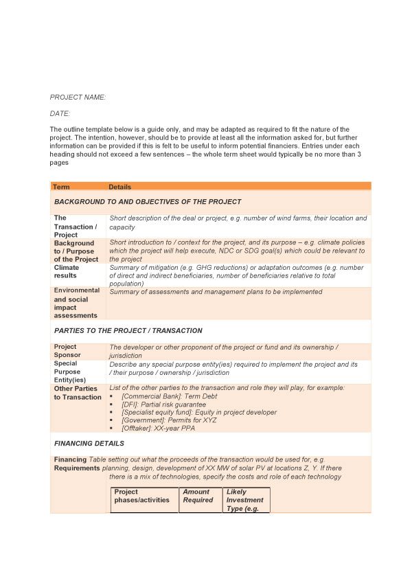 Sample term sheet1