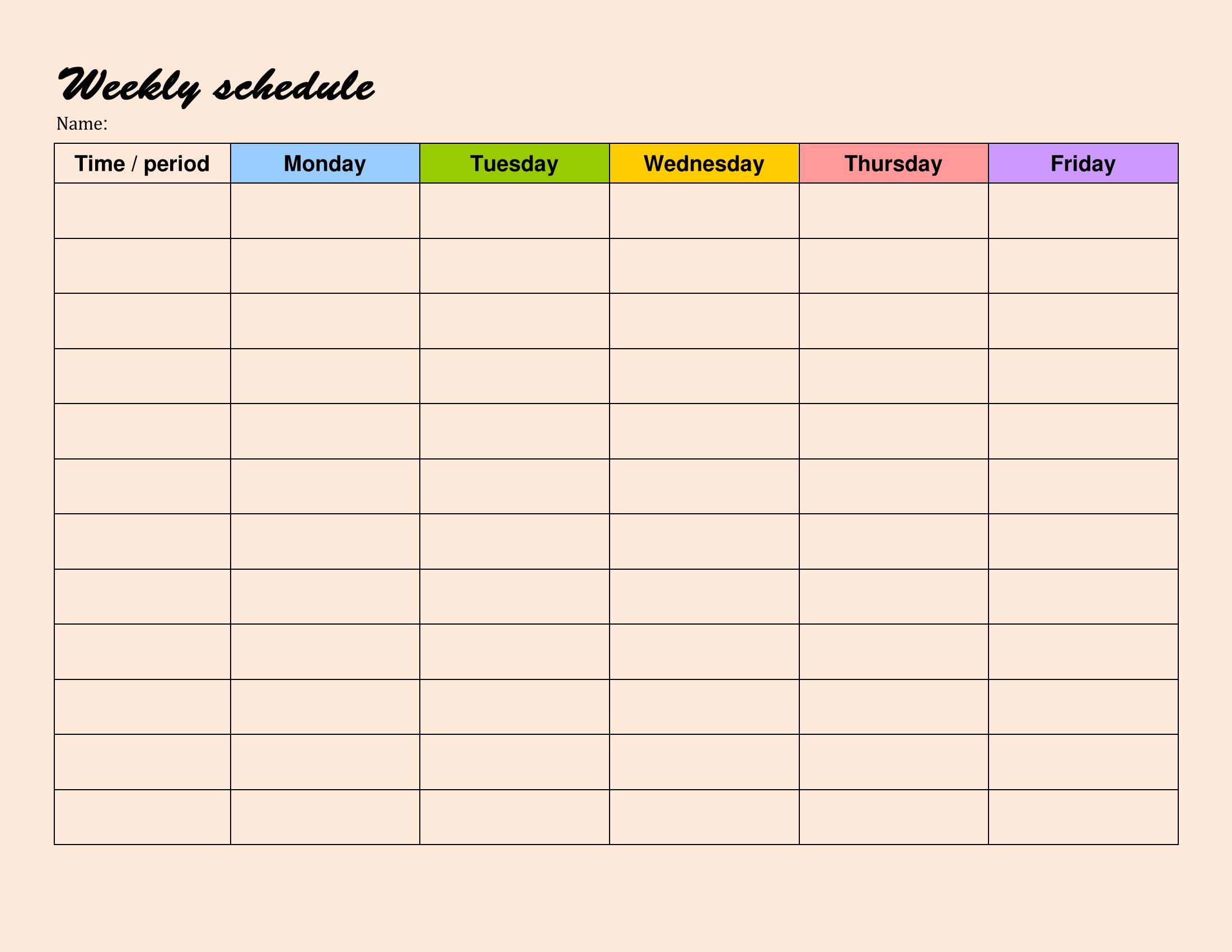 Students Weekly Itinerary Sample 3