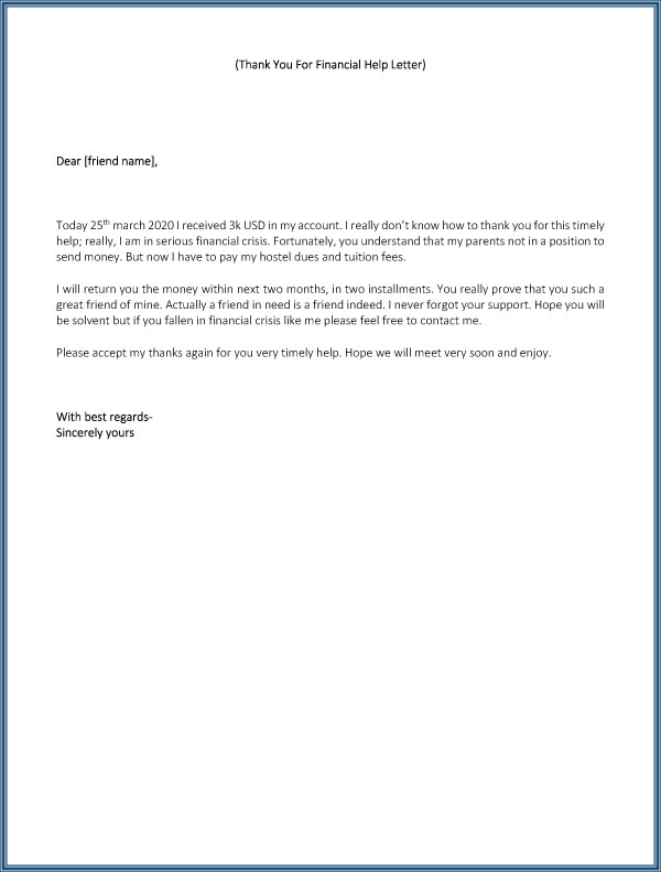 Thank You For Your Financial help Letter 03