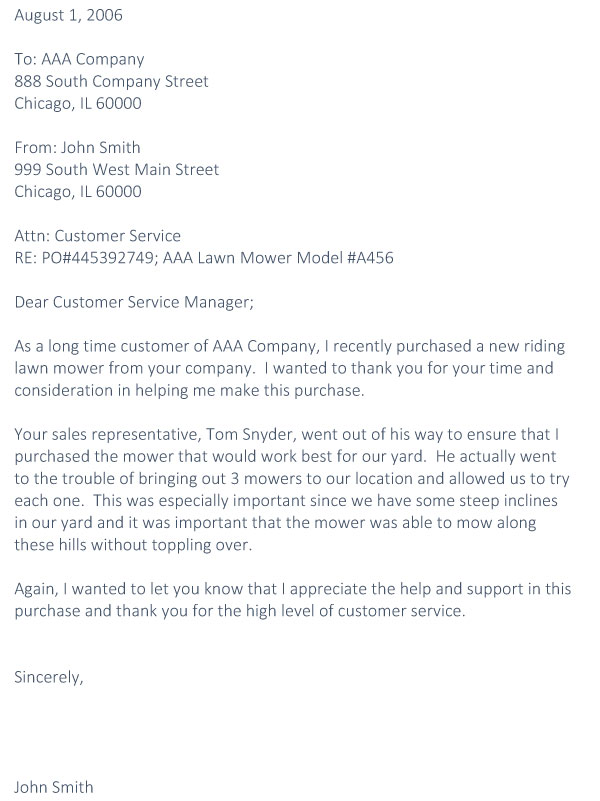 per customer thank you letter