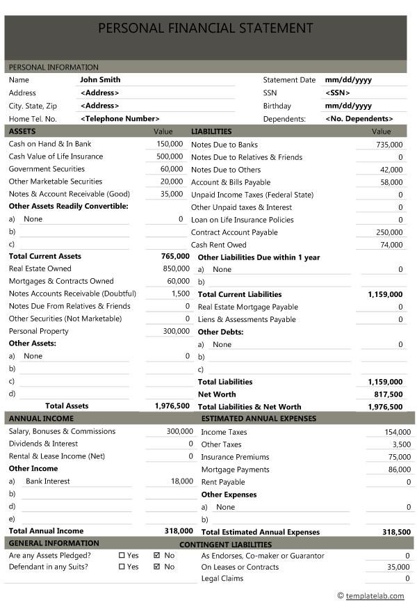 personal financial statement 04