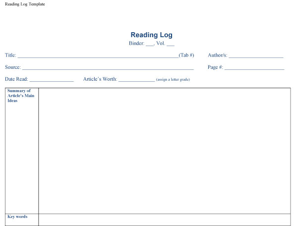 reading log template 03