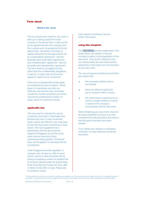 term sheet template 04