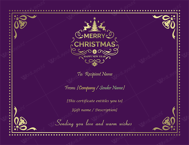 Christmas gift certificate purple theme