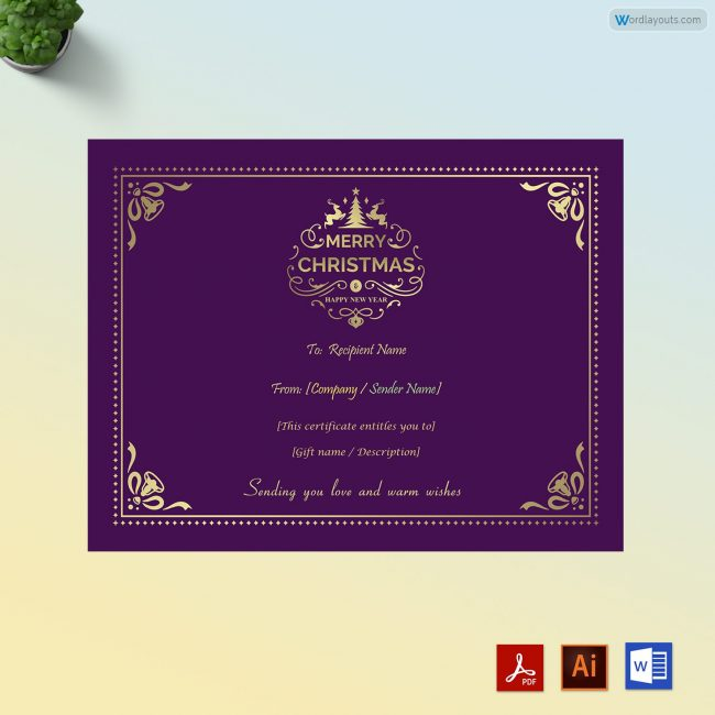 Christmas gift certificate purple theme