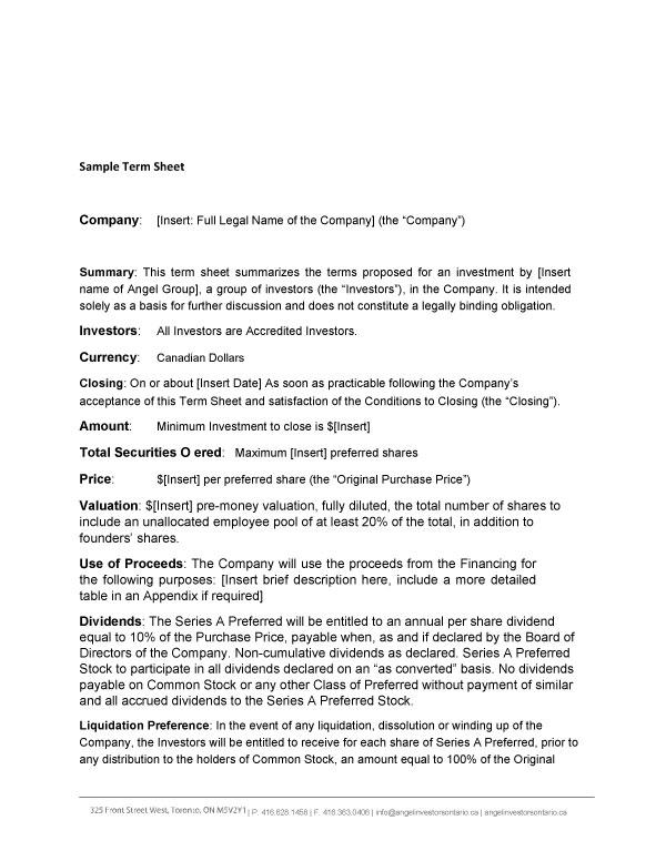 term sheet template 09