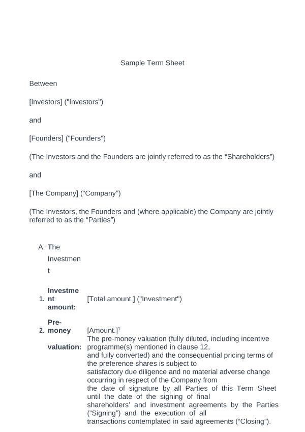 term sheet template 12