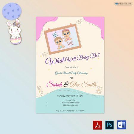 Gender Reveal Invitation ( Pink Themed) Pr