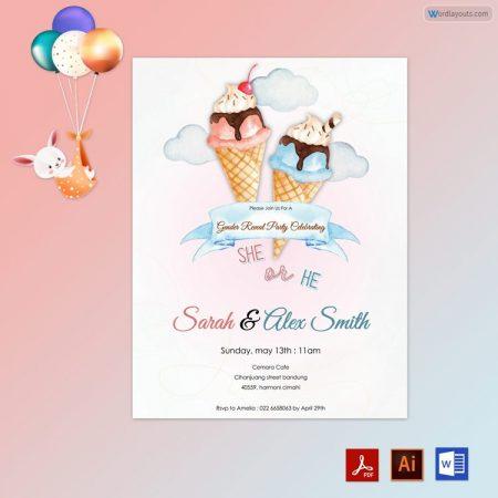 Gender Reveal Invitation (Ice-cream Themed)