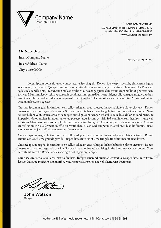 Yellow Simple Official Letterhead