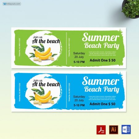 Pool Event ticket template 01