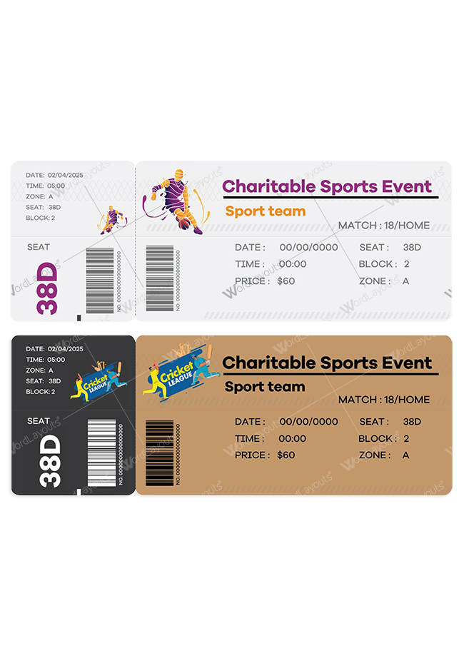 Charitable Sports Event Ticket 01