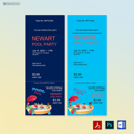 Pool Event ticket template 02