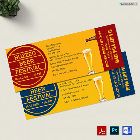 Beer Festival Ticket Template 01