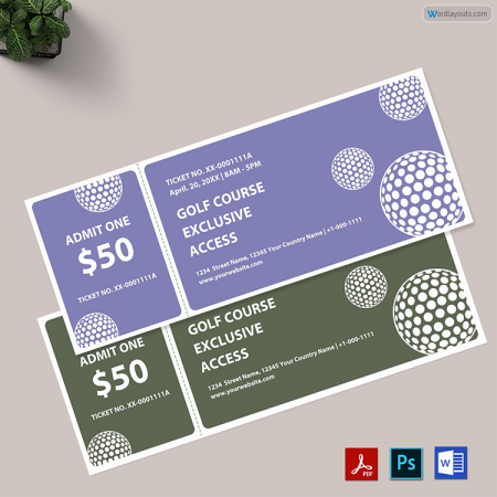 Golf Raffle Ticket Template 01