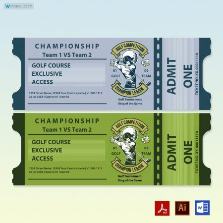 Golf Raffle Ticket Template 02