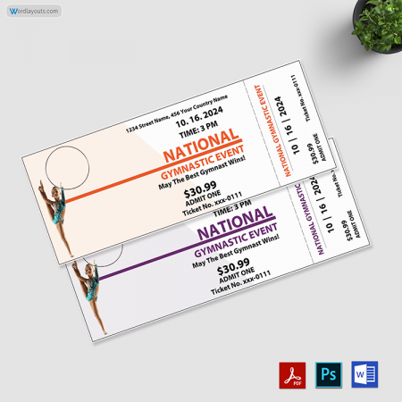 Gymnastic Event Ticket Template 01