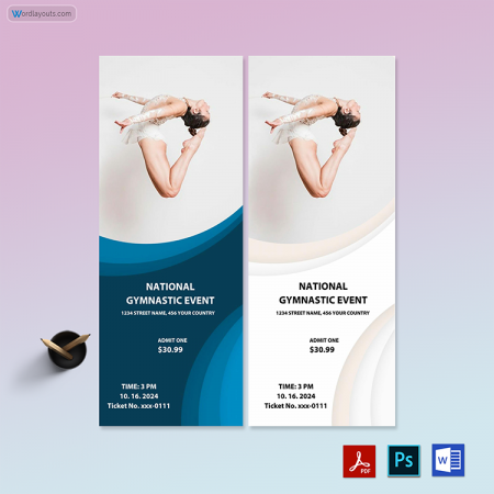 Gymnastic Event Ticket Template 02
