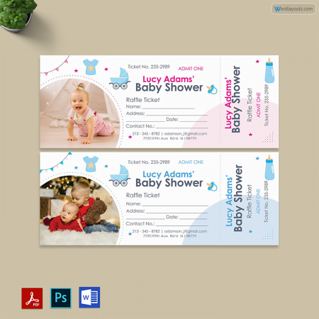 Baby Shower Raffle Ticket Template 01