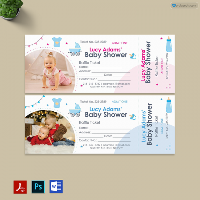 Baby Shower Raffle Ticket Template 01