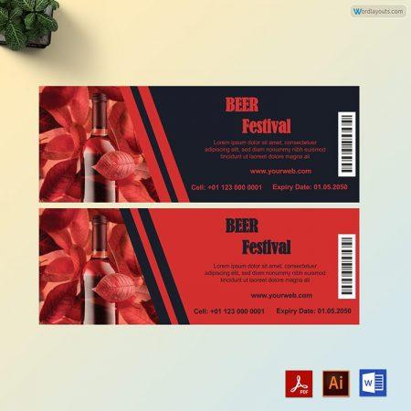 Beer Festival Ticket Template 02