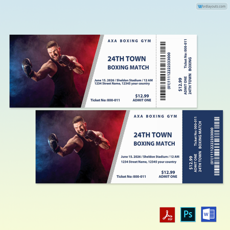 Boxing Ticket Template 01