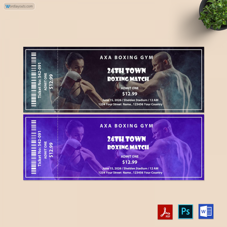 Boxing Ticket Template 02