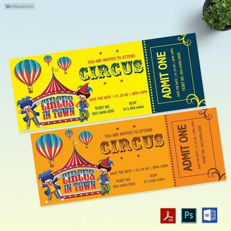 Circus Birthday Ticket Template 01
