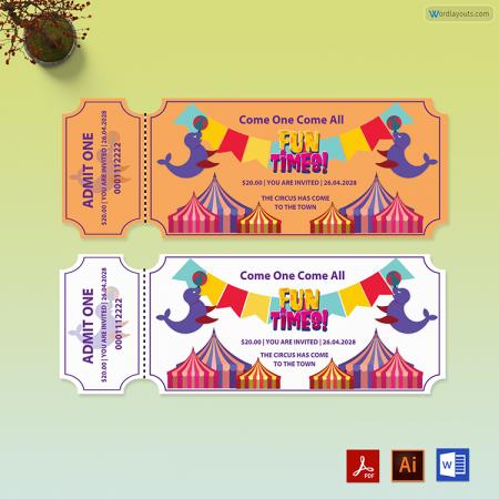 Circus Birthday Ticket Template 02
