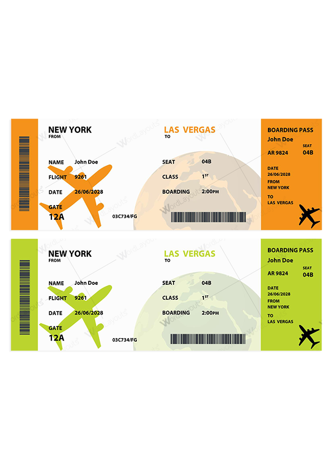 Travel Ticket Template 02