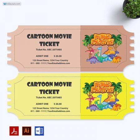 Cartoon Movie Ticket Template 02