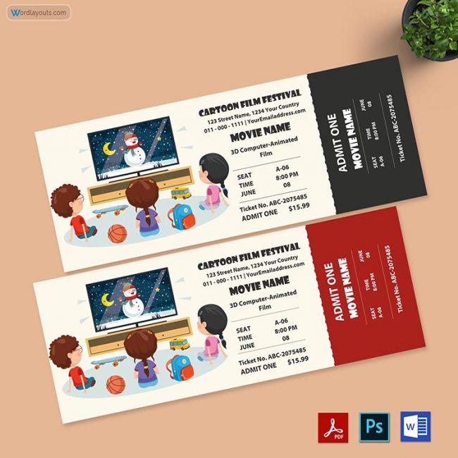 Cartoon Movie Ticket Template 01