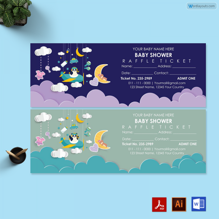 Baby Shower Raffle Ticket Template 02
