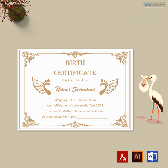 Birth Certificate (Brown, White Themed)