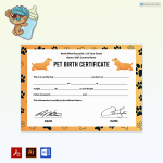 Pet Birth Certificate (with Golden Vector Dogs)