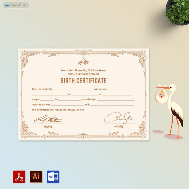 Birth Certificate (Brown Border)